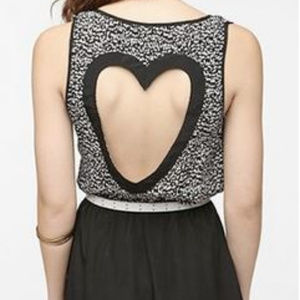 Black and White Heart Back Cutout Dress